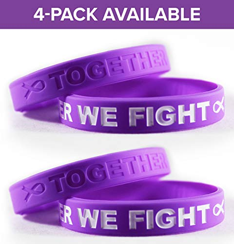Cancer & Cause Awareness Bracelets With Saying TOGETHER WE FIGHT, Gift for Patients, Survivors, Family and Friends, Set of 2 Ribbon Silicone Rubber Wristbands for All (Pancreatic Cancer Purple 4 Pack) ()