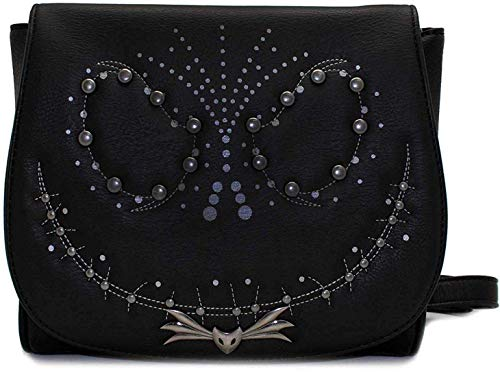 Loungefly x Nightmare Before Christmas Jack Studded Flap Crossbody Bag (One Size, Black)