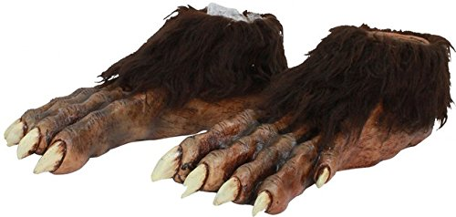 Ghoulish Productions Werewolf Feet Deluxe Shoe Covers Brown/Yellow