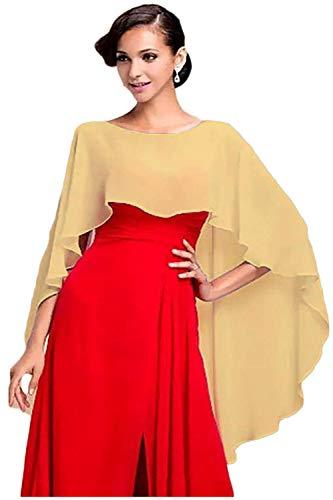 Wedding Capes Womens Soft Chiffon Shrug Bridal Long Shawl and Wraps (Gold)