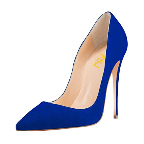Blue Suede Pumps - FSJ Women Sexy Suede Pointed Toe Pumps 12 cm High Heels Stilettos Prom Shoes Size 8 Blue