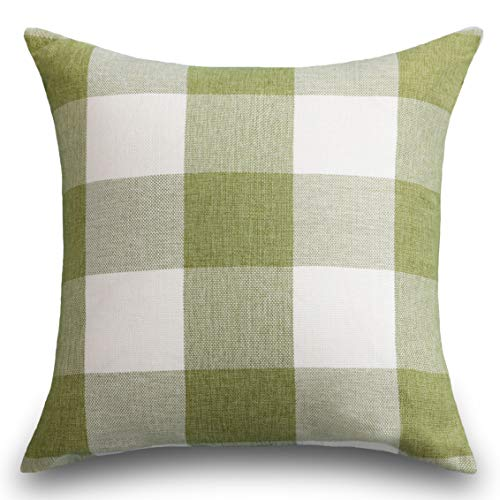 Green Euro Sham - HOME BRILLIANT Checkers Plaids Euro Sham Farmhouse Throw Pillow Cover for Patio, 26x26 inches, Green Grass