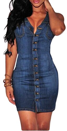 Denim Loose Jaycargogo Down Blue V Button Club Neck Denim Womens Dress Sleeveless qBBxtnvE