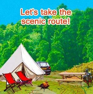 Camping, Scenic, tarjeta esposa marido pareja novio novia ...