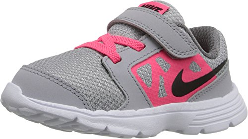 NIKE Toddler Downshifter 6 (TD) Grey Hyper Pink White Black Size 10 (Nike Kids Shoes Size 10)