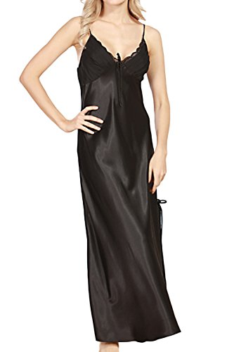 - Happyyip Women Summer Sexy Satin Lace Long Nightgown Slip Lingerie Chemise Robes Black US 4-6 = Tag L