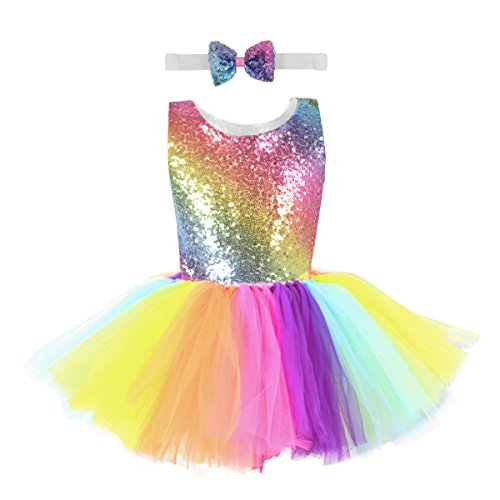 10T Rainbow Sequin Tutu Dress Girls Tulle Unicorn Party Dress with Bow Tie for Unicorn Party Wedding Dancing -