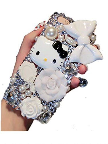 HTC ONE M8 Case,HTC ONE M8 Crystal Rhinestone Case,3D Cartoon Cat Bow-knot Luxury Sparkle Glitter Crystal Rhinestone Bling Diamond Phone Case Cover For HTC M8/HTC ONE - M8 One Kitty Phone Case Htc Hello