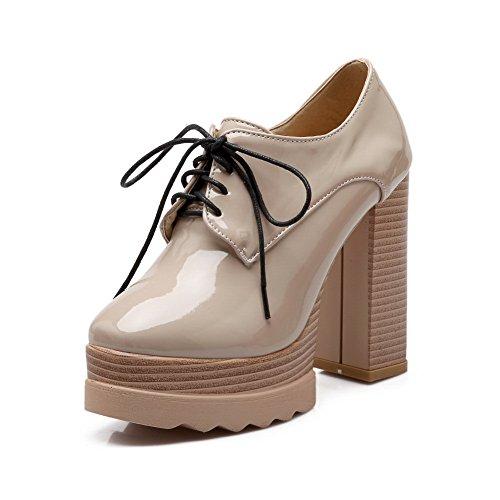 Balamasa Dames Bandage Vierkante Teen Platform Lakleder Pompen-schoenen Abrikoos