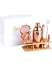 High End Rose Gold Bartender Kit - Mixology Cocktail Shaker Set with Bamboo Stand - Bar Set Includes 750ml Shaker, Muddler, Nip Pourers, Cocktail Strainers, Bar Spoon, Jigger, Bottle Opener and Ice Tongs - Beautifully Packaged Gift Set