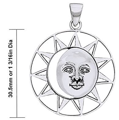 New 0.925 Sterling Silver Sun and Moon Charm Pendant Necklace