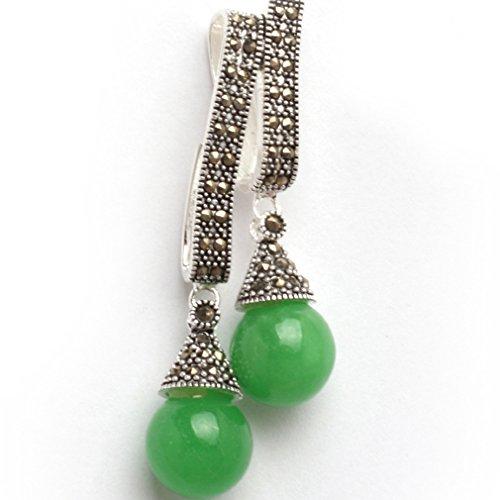 - 25x55mm Round dyed Manmade green jade Beads Marcasite Tibetan Silver Pendant