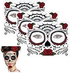 Sugar Skull Temporary Tattoo Rose Design (3 Tattoo Kits) ()