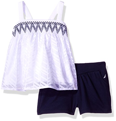 Nautica Baby Girls' Sleeveless Fashion Top With Shorts Set, Sail White Smocking, 24 Months