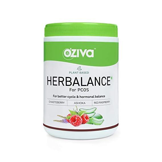 OZiva Plant based HerBalance for PCOS (with ChasteBerry,Red Raspberry, Ashoka, Gokhru & more), 250g