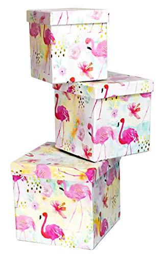 ALEF Elegant Decorative Themed Nesting Gift Boxes -3 Boxes- Nesting Boxes Beautifully Themed and Decorated! (Sq Flamingos)