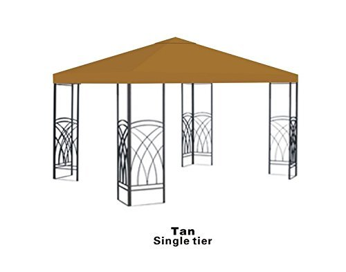 BenefitUSA Single tier Replacement 10'X10'gazebo canopy top patio pavilion cover sunshade plyester TAN by BenefitUSA