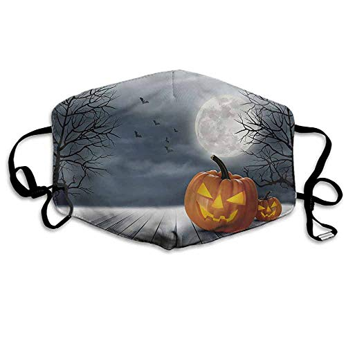 Halloween Dust Mouth Mask Full Moon Night Pumpkins for Men and Women W4