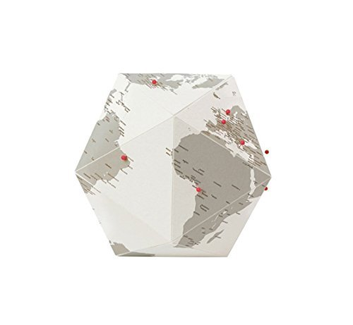 Here Foldable Personal Globe by Cities~Medium~3 Dimensional Quality Graphic Paper Globe~Pin your Personal Travel ()