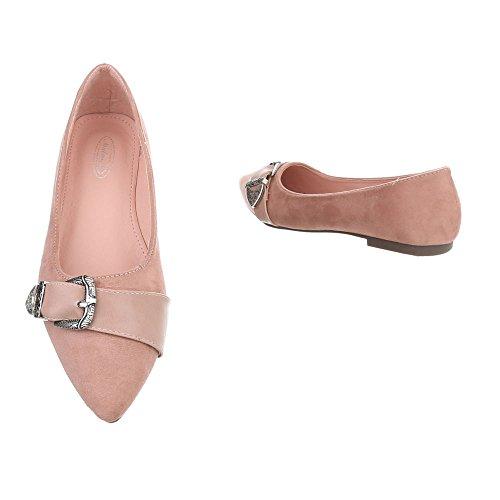 Ital-Design Klassische Ballerinas Damenschuhe Blockabsatz Pink 127-17