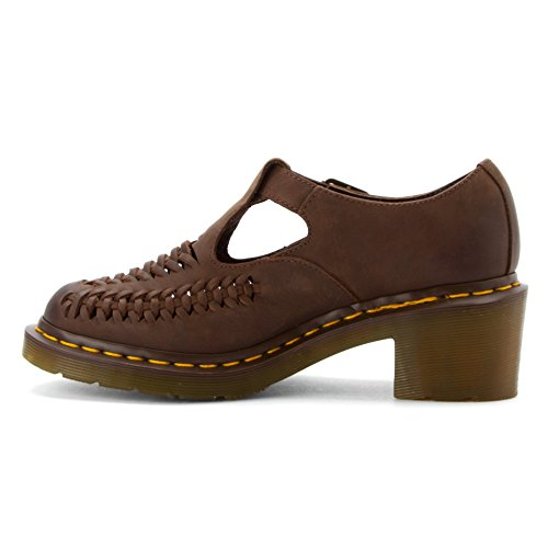 Dr. Martens Womens Mindy Woven Vamp T-bar Marrone Scuro Brunito Wyoming