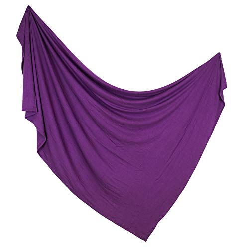 Premium Knit Swaddle Blanket by ADDISON BELLE - Oversized 47 inches x 47 inches - Best Baby Shower Gift - Ultra Soft & Breathable (Plum)