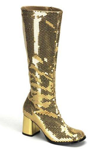 Bordello by Pleaser Women's Spectatcular-300 Sequin Gogo Boot,Gold Sequins,11 M (Pleaser Go Go Boots)