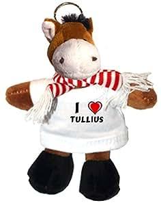 Caballo de peluche (llavero) con Amo Tullius en la camiseta (nombre de pila/apellido/apodo)