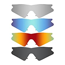 MRY 4 Pairs POLARIZED Replacement Lenses for Oakley M Frame Sweep Sunglasses-Stealth Black/Fire Red/Ice Blue/Silver Titanium