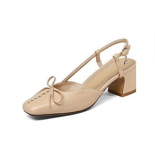 Sky-Pegasus 2018 Sandals Square high Heel Dress Shoes Nude Color Fashion Summer Ladies Shoes,Apricot,7