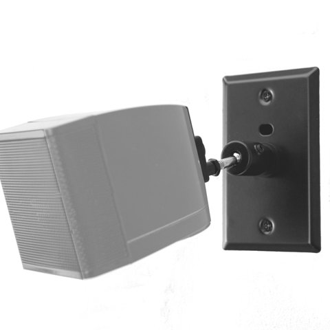 Speaker Black Mount (Pinpoint Mounts AM21-Black Universal Home Theater Speaker Wall Ceiling Mount with Electrical Box Installation Adapter Plate)