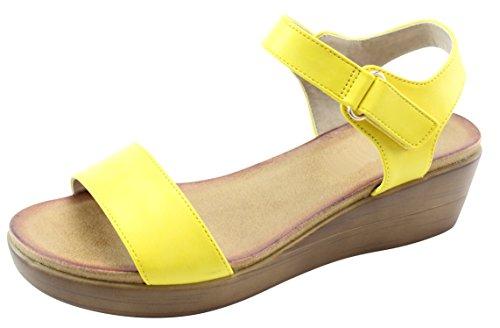 Cambridge Select Dames Open Teen Enkelband Velcro Enkelbandje Laag Midden Dikke Platform Sleehak Sandaal Geel