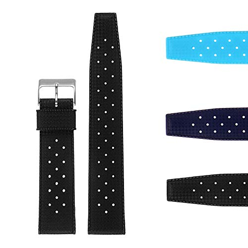 StrapsCo Vintage Dive Perforated Silicone Rubber Rally Watch Band Strap 20mm ()