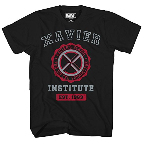 Marvel Avengers X-Men Professor Xavier Institute Logo Fantastic Four X-Force Adult Mens Graphic Tee T-Shirt Black (3XL) ()