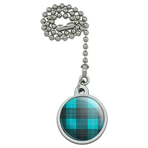 (GRAPHICS & MORE Plaid Turquoise Teal Gray Grey Pattern Ceiling Fan and Light Pull Chain)