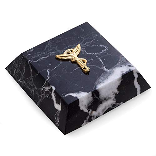 (Black Zebra Marble Chiropractor Symbol Medical Paperweight with Brass)
