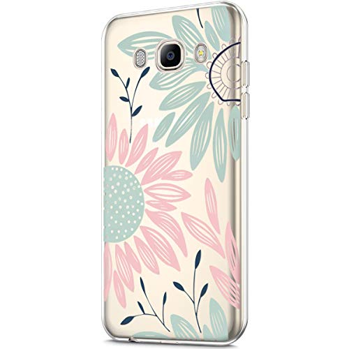 Price comparison product image Galaxy J7 2016 Case, Galaxy J7 J710 Case, Clear Art Panited Design Soft TPU Ultra-Thin Transparent Flexible Soft Rubber Gel TPU Protective Case Cover for Galaxy J7 J710 (2016), Pink Green Sun flower