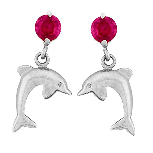 14K Gold Dangle Dolphin Safety Screw Back Stud Kids Earrings (white-gold)