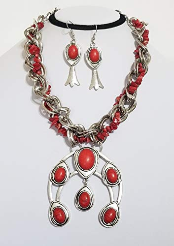 Southwestern Squash Blossom Coral Turquoise Gemstone Necklace Earrings Bracelet One of a Kind