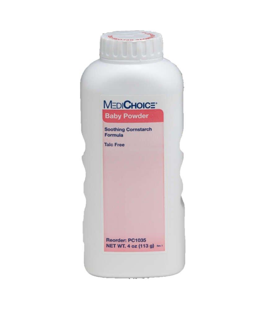MediChoice Baby Powder, Talc-Free, Food-Grade Cornstarch, 4 Ounce (Box of 12)