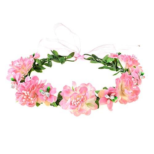 A Miaow Hibiscus Mutabilis Flower Headband Hair Wreath Floral Crown Accessory (Pink)