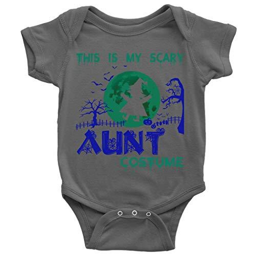 Halloween Costume Baby Bodysuit, My Scary Aunt Costume Cute Baby Bodysuit (12M, Baby Bodysuit - Dark Gray)