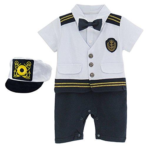 A&J DESIGN Toddler Baby Boys' Halloween Navy Captain Romper Outfit with Hat (9-12 Months, Set) -