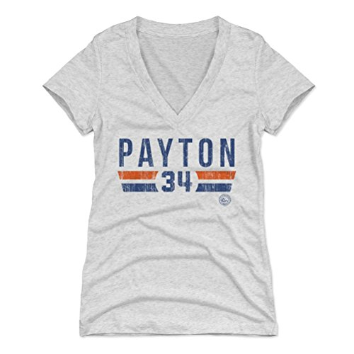 ton Women's V-Neck Shirt XX-Large Tri Ash - Vintage Chicago Football Women's Apparel - Walter Payton Font B ()