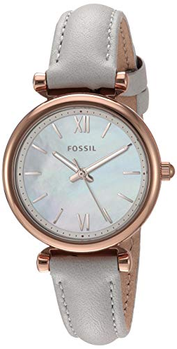Fossil Women's Mini Carlie Stainless Steel Quartz Watch with Leather Strap, Gray, 11.4 (Model: -