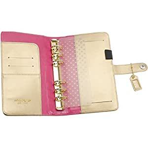 Webster's Pages 6-Ring Color Crush Personal Planner Leather A2 Binder, Gold
