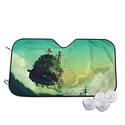 JoyDaniels Howl's Moving Castle Car Windshield Sun Shade - Blocks UV Rays Sun Visor Protector, Sunshade to Keep Your Vehicle Cool and Damage Free, Easy to Use