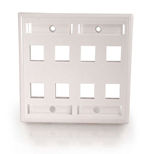 C2G 03415 8-Port Double Gang Multimedia Keystone Double Gang Wall Plate, -