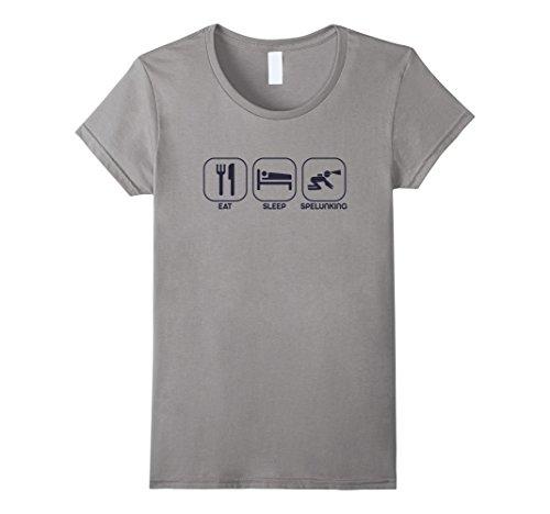 Womens Eat Sleep Spelunking T-shirt Casual Spelunker Unisex Top Tee Large Slate