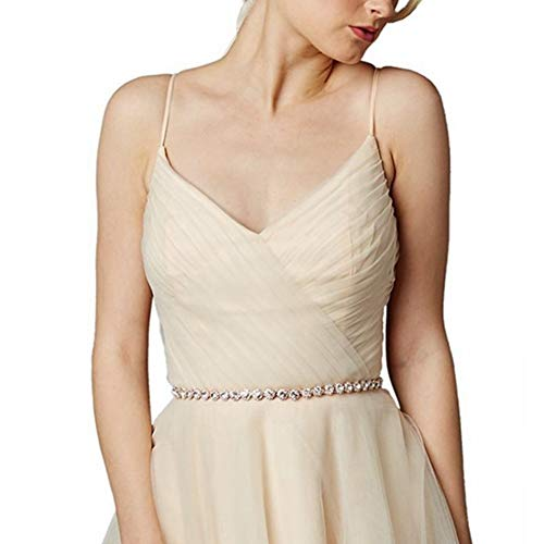 Rose Gold Round Rhinestone Sash Belt Rhinestone for Wedding Bridal Party Dresses (Waistband)